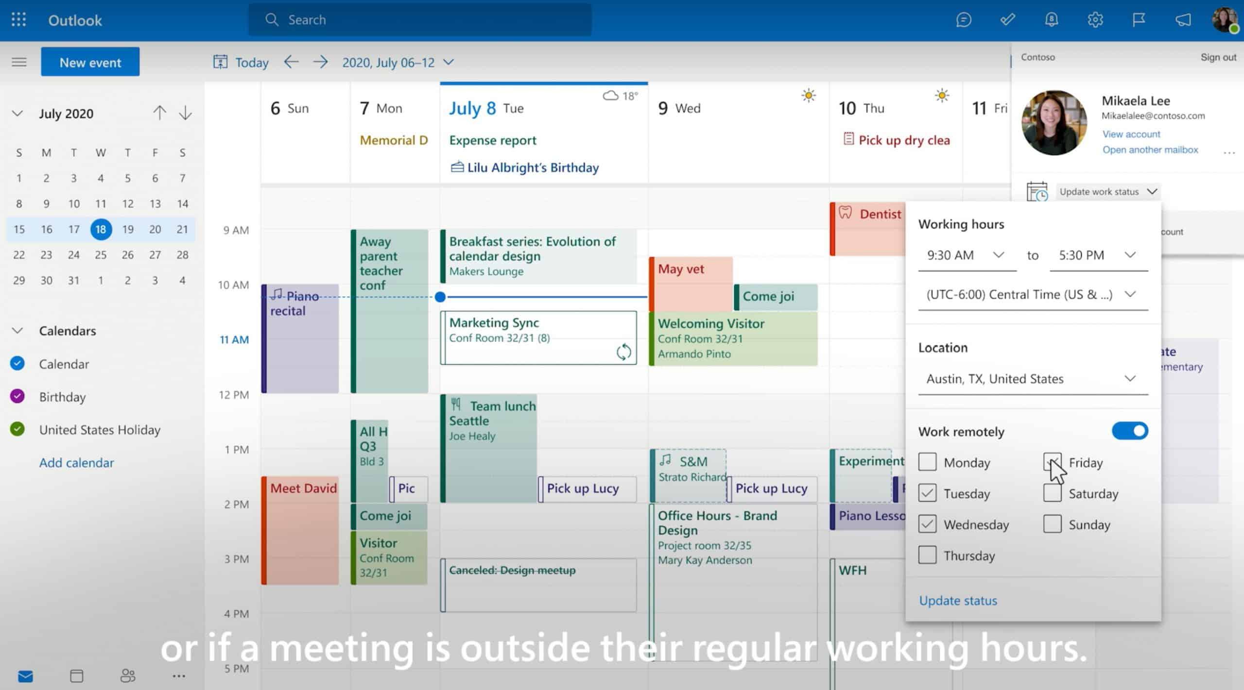 Utilisation des working hours dans Outlook