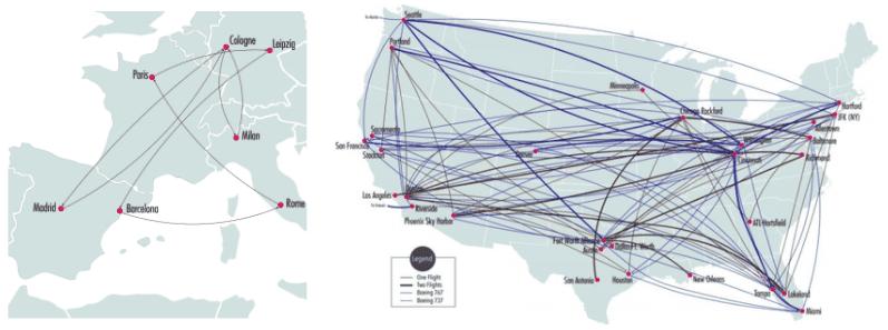Carte des réseaux d'Amazon Air en Europe et aux États-Unis.