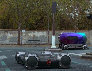 Le Citroën Autonomous Mobility Vision sans et avec capsule, sur route