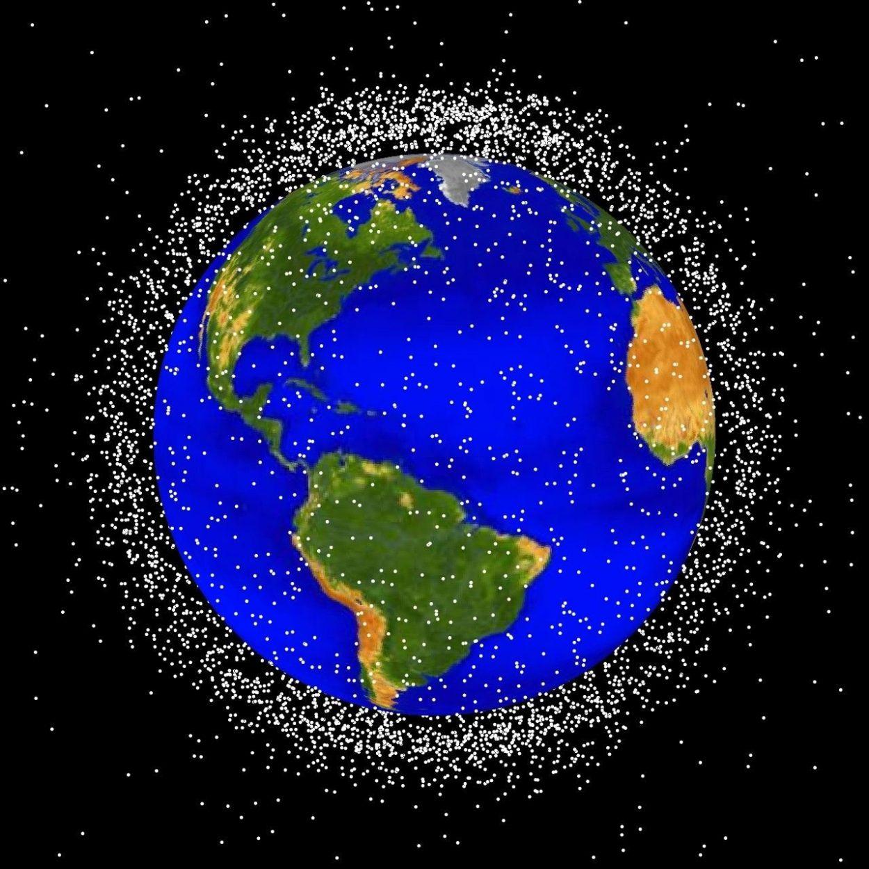 Vue d'artiste de la Terre entourée de débris spatiaux.