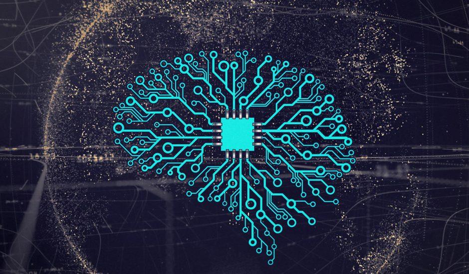 cerveau en circuit imprimé sur fond de planète terre