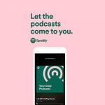 L'interface Podcast de Spotify sur un téléphone mobile sur fond rose.
