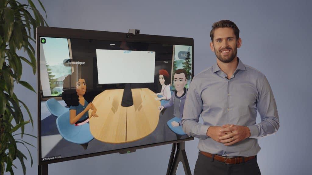 Vue de la fonctionnalité Whiteboard de Zoom en réalité virtuelle au sein de Workroom Horizons de Facebook.
