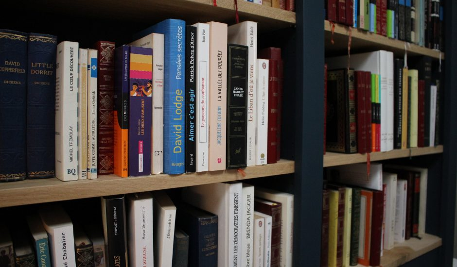 Livres dans les rayonnages d'une librairie