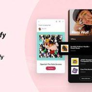 Image du partenariat entre Shopify et Spotify permettant à un artiste de vendre son merchandising directement depuis l'application Spotify.