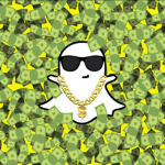 Logo Snapchat dans une piscine de billets