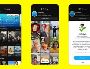 Vue de la fonctionnalité Challenges de Snapchat sur 3 écrans de téléphone portable.