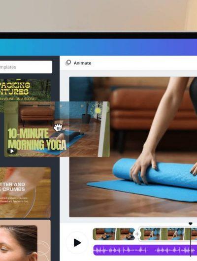La suite vidéo de Canva sur un ordinateur.