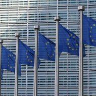 des drapeaux de l'UE devant un bâtiment