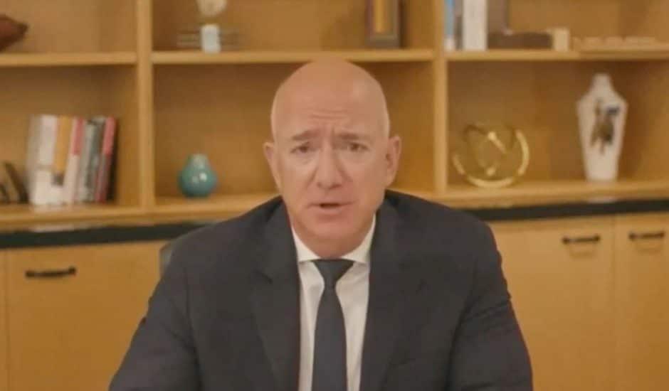 Jeff Bezos en visioconférence.