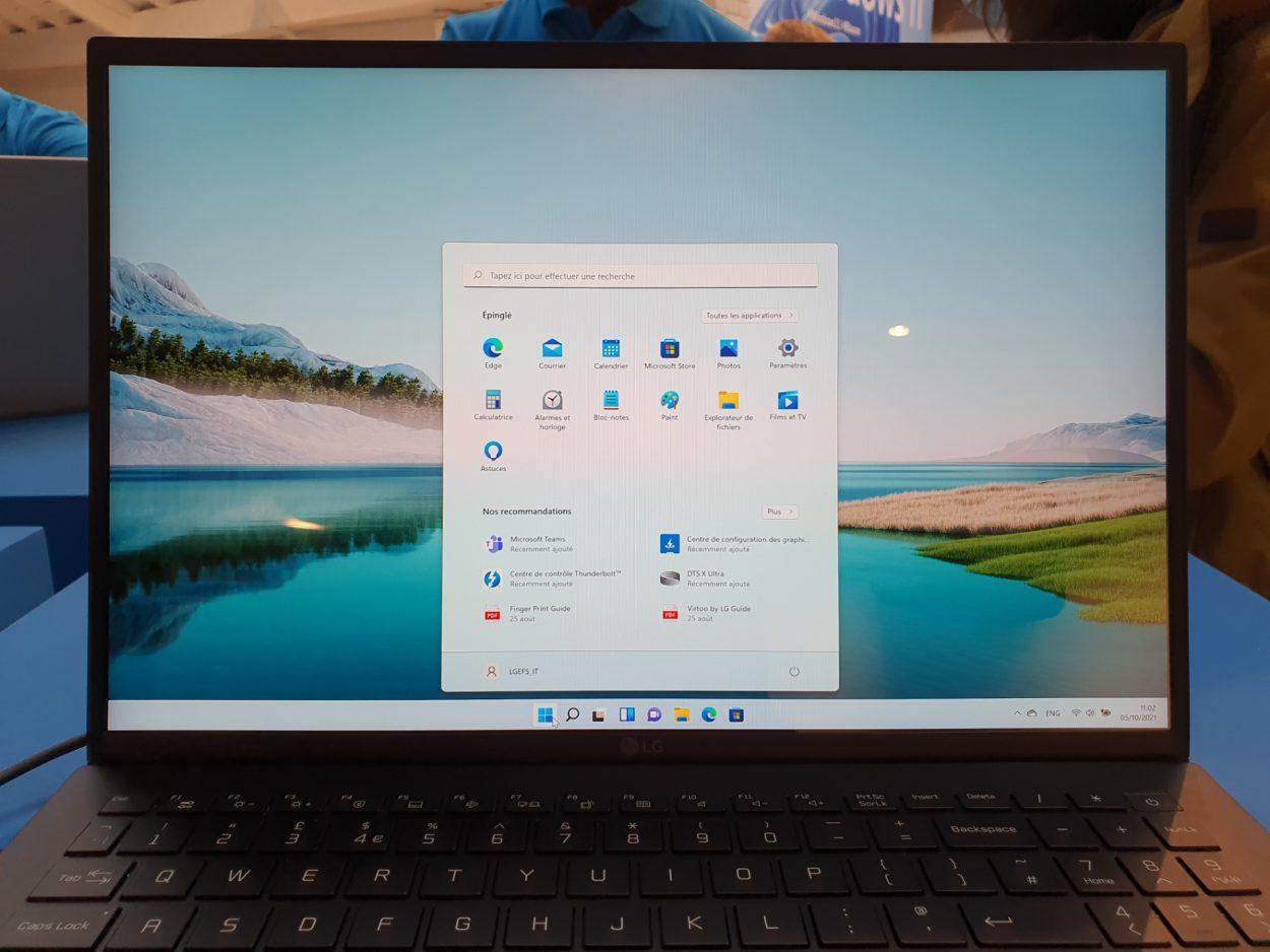 Affichage du menu démarrer de Windows 11
