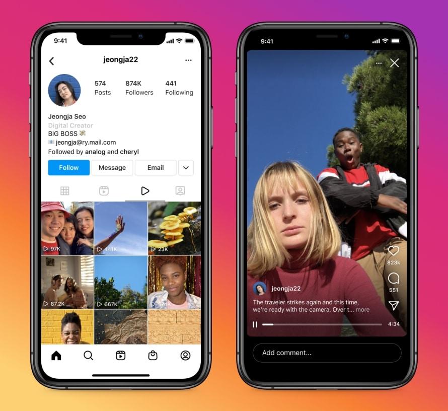 Image montrant le nouveau format vidéo d'Instagram, Instagram Video, et son onglet