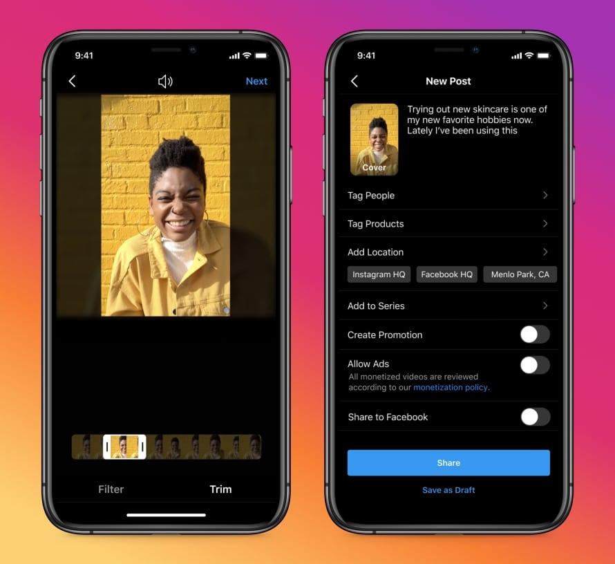 Image montrant la nouvelle fonctionnalité d'Instagram permettant de taguer une personne dans une vidéo