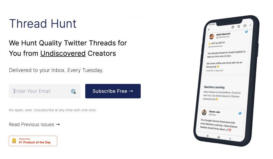 page d'accueil de Thread Hunt
