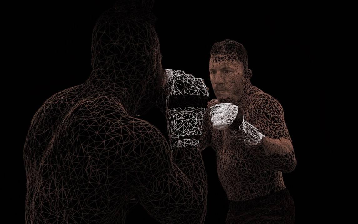 Deux combattants de MMA en 3D.